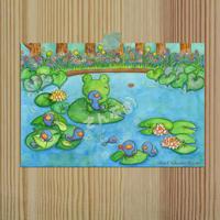 ポストカード かえるの親子シリーズ「かえるのお池」