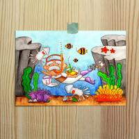ポストカード じーさんシリーズ 「じーさんの海水浴」