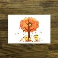 ポストカード ひよこシリーズ 「落ち葉」