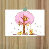 ポストカーポストカード ひよこシリーズ 「桜」