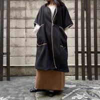 Lallia Mu パイピングコート ( ベージュ/ブラック )