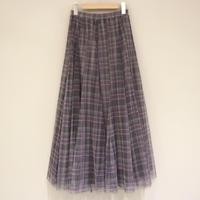 tranoi チュールスカート チェック (gray,beige)