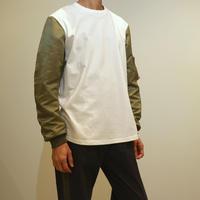 HBNS  MA1袖カットソー(white)