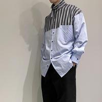 scalar 切り替えストライプシャツ (サックス )