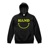 HAND スマイルパーカー  ブラック×蛍光イエロー
