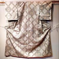 正絹 袷 紬地 幾何学柄 z35