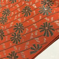 半幅帯 オレンジ地に菊と斜めの縞柄 ob143