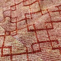 正絹 羽織 絞り 赤茶地に四角柄 h38