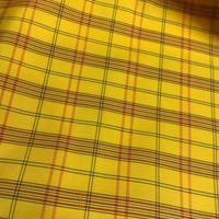 化繊 羽織 黄色地に格子柄 h32