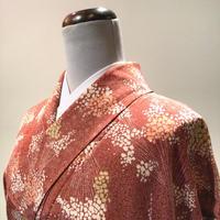 袷 正絹 赤茶色にかすみ草の様な花柄 z145