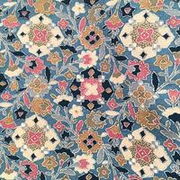 袷 交織 水色地に紫・抹茶色等の幾何学的な花柄 z155
