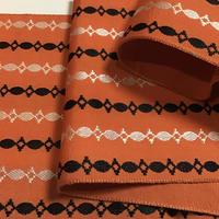 正絹 半幅帯 オレンジに段々柄 ob85