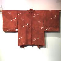 羽織 正絹 赤茶色地に椿柄 h63