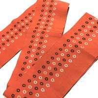 正絹 半幅帯 オレンジ 白黒の小花柄 ob95