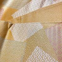 京袋 化繊 からし色に和柄の色紙柄 ob164