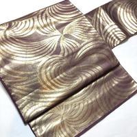 名古屋帯 八寸 紫に金の流線柄 ob161