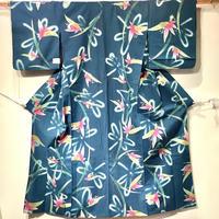 浴衣 注染 青緑地にピンクの葉柄とぼかしのトンボ柄 yu32