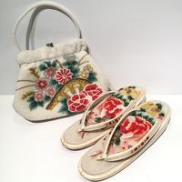 ビーズバッグ・草履セット 白地に赤い花柄 B3