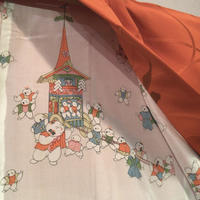 羽織 正絹 オレンジ色地に七宝の雲取りと組紐柄 h76