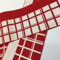 半幅帯 紅白格子柄 ob125