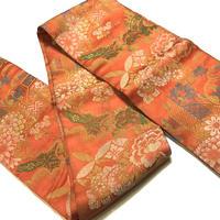 半幅帯   オレンジ地に菊・牡丹・紅葉等の古典柄   ob114
