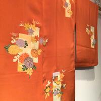 羽織 正絹 橙地に菊・紅葉・梅等の和柄 h51