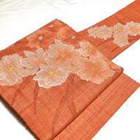 名古屋帯 八寸 オレンジの花 ob167