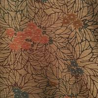 袷 正絹 ベージュ地に型染めの菊柄 z111