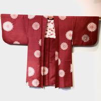 羽織 正絹 ブドウ色地に菊柄 h45