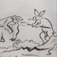 正絹 単衣 鳥獣戯画 手描き 落款入り z19