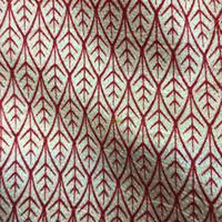 袷 正絹 地紋入の白生地に赤の葉模様の小紋 z150