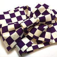 半幅帯 白× 紫の市松柄 染め帯 ob129