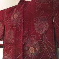 羽織 正絹 アンティーク ワインレッドに花くす玉柄 h57