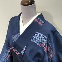 単衣   正絹   青色にピンクのポップな花柄   z107