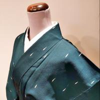 正絹 単衣 お召 濃緑 z10