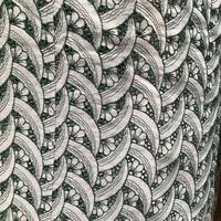 綿 単衣 水色に緑の花柄レース着物 z97