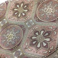 名古屋帯 八寸 薄紫×ピンク アラベスク模様 ob151