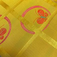 半幅帯   化繊   黄色地にオレンジの蝶柄   ob104