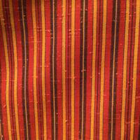 単衣 ウール 朱赤地に黒×黄の縞柄 z131