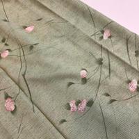 夏着物 絽 化繊 黄緑地に小さなピンクの紫陽花柄 z123