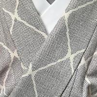 正絹 単衣 白地にグレーの細かい絣で網目柄 z90