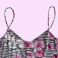 インポートフラワーキャミ/ Flower in stripe camisole