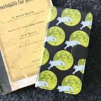 月と狼 ブラックレザー手帳型スマホケース/ Book-style smartphone case