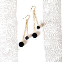 オニキスピアス/ French Hook Dangle Earring 'Black drop'