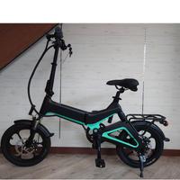 電動 折りたたみ 自転車 耐荷重150kg 充電式 ブラック/グリーン 商品番号4565