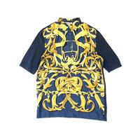 HERMES / Silk Scarf Pattern S/S Polo Shirt (navy:M) (spice)