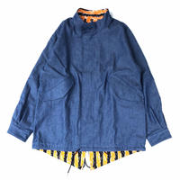 "THREE FACE "" Reversible tiger fish tail coat "" (Light indigo )"