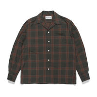 "WACKO MARIA  ""ombray check open collar shirt (green)"