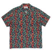 WACKO MARIA   / Leopard Open Collar Shirt (green )