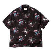 """DELIVERY HELLS × BUENAVISTA  × HQ """"  風神雷神 Hawaiian shirt"""" (black)"""